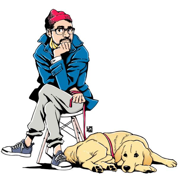 おじさんと犬(ゴールデンレトリバー)